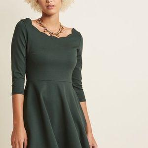 Modcloth Hunter Green Scalloped Neckline Dress